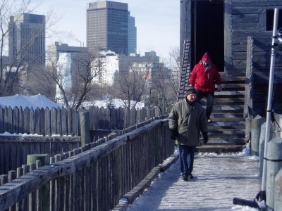 Herb and Warren coming out of the Prison Tower, on top the back lookout (and nice view of Winnipeg in background)